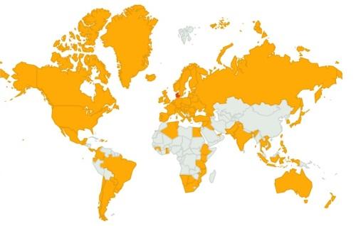 Det er sjovt at se, hvordan kortet her er farvet gult af besøgende fra eksotiske lande og med Danmark som verdens naturlige midtpunkt. Gæster fra 90 lande har besøgt bloggen i 2012