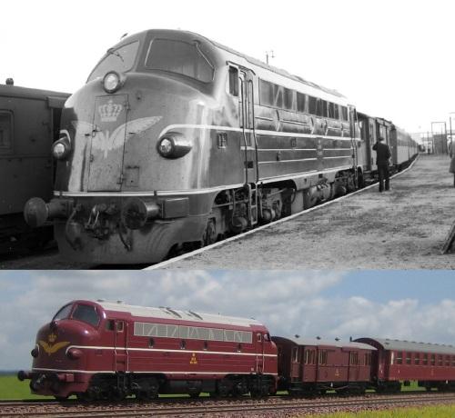 Forbillede og Model. Det kan efterhånden godt lade sig gøre at oprangere rigtige epoke III tog på modeljernbanen, her i form af MY-ECO-CC-CC. Originalbilledet er taget af John Hartmann
